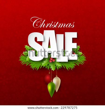 Christmas sale background - stock vector
