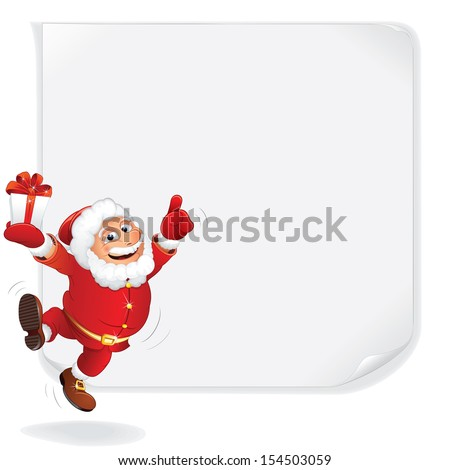 Christmas Sale Background. Cartoon Santa Claus with Blank Paper Poster. Vector Sale Poster with Space for Your Text or Price List - stock vector