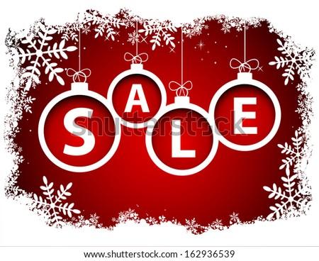 Christmas SALE balls with snowflake - stock vector