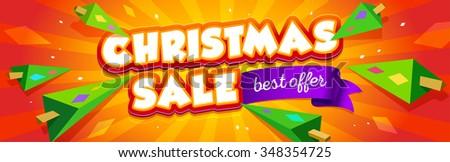 Christmas sale banner design.Vector illustration.  - stock vector