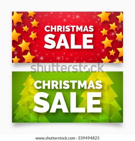 Christmas sale banner, vector design - stock vector