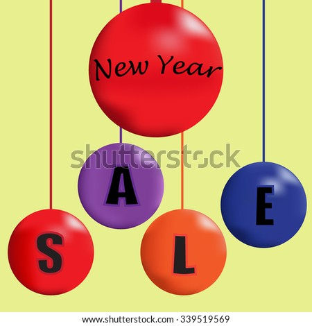 Christmas sale banner with balls. Sale on holidays. Original package. Sale banner. Sale in the shop. Sell out badge. Trade commerce element. Promo sign. Discount. Vector design illustration - stock vector