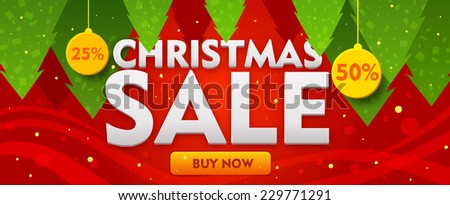 Christmas sale banner with fir trees on red backdrop. Vector - stock vector