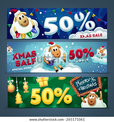 Christmas sale banners with a cute sheep  - stock vector