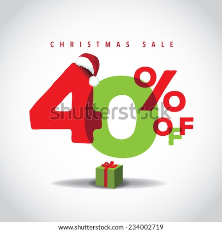 Christmas sale big bright overlapping design 40% off EPS 10 vector stock illustration - stock vector
