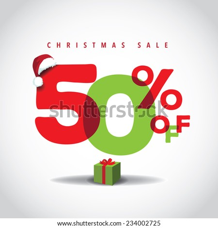 Christmas sale big bright overlapping design 50% off EPS 10 vector stock illustration - stock vector