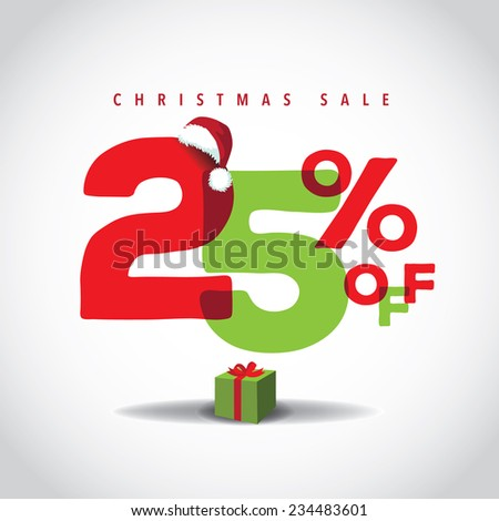 Christmas sale big bright overlapping design 25% off EPS 10 vector stock illustration - stock vector