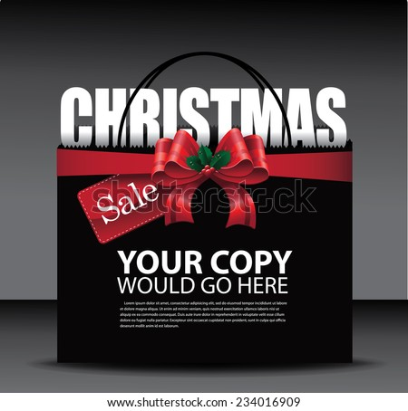 Christmas sale big red bow shopping bag background EPS 10 vector stock illustration - stock vector