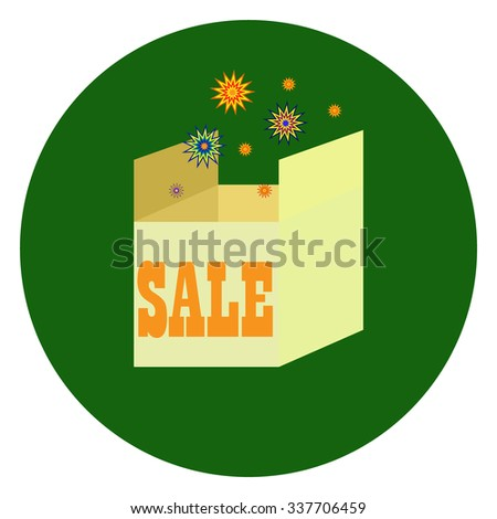 Christmas sale box. Sale on holidays. Original package. Sale banner. Sale in the shop. Sell out badge. Trade commerce element. Promo sign. Discount. Vector design illustration - stock vector