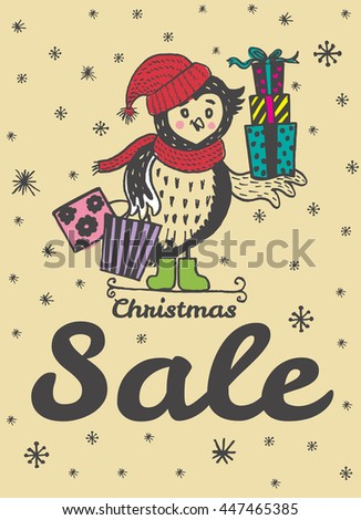 Christmas Sale card with hand drawn Owl. Vector hand drawn illustration of Owl character on beige background. - stock vector