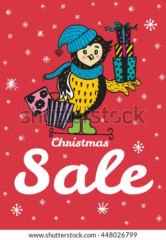 Christmas Sale card with hand drawn Owl. Vector hand drawn illustration of Owl character on red background. - stock vector