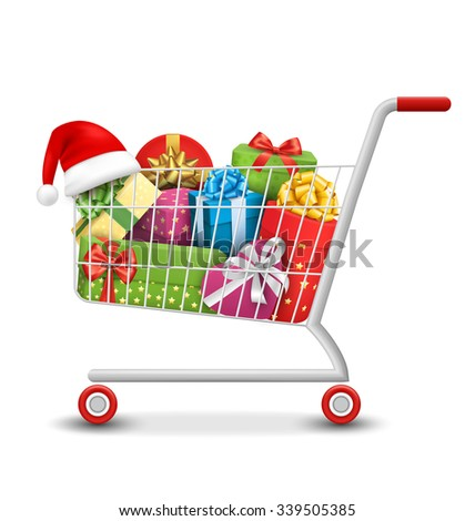 Christmas Sale Colorful Shopping Cart with Gift Boxes and Bags Isolated on White Background - stock vector