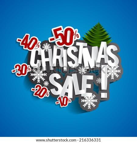 Christmas Sale Design On Blue Background vector illustration  - stock vector