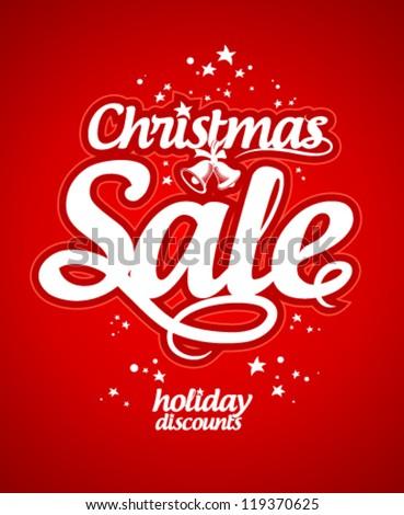 Christmas sale design template. - stock vector
