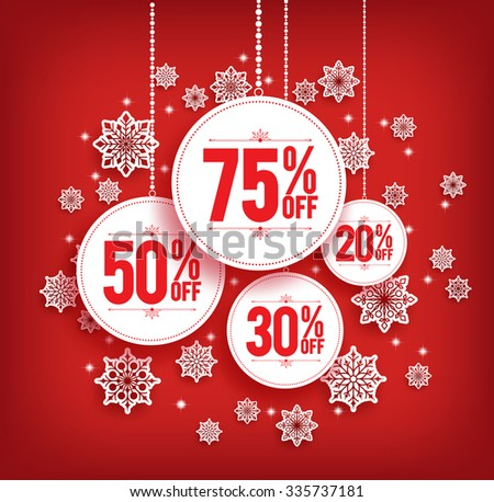 Christmas Sale Discount Hanging with Snowflakes in Red Background. Vector Illustration  - stock vector