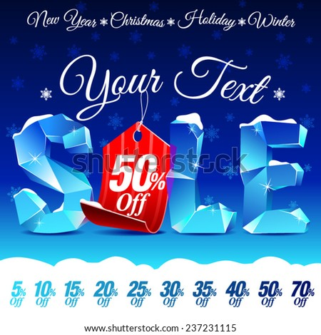 Christmas Sale Discount with Ice Letters and Price Tag - stock vector