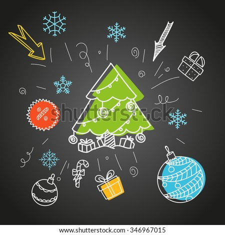 Christmas sale doodle elements - stock vector