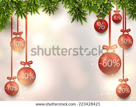 Christmas sale illustration with fir twigs and colorful balls. Vector background.