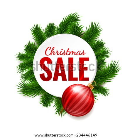 Christmas sale label on fir background - stock vector