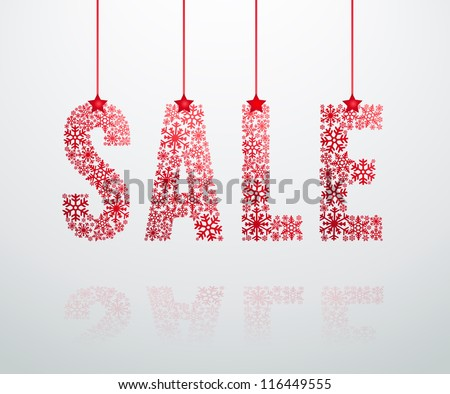 Christmas sale label with ribbons  made from snowflakes - stock vector