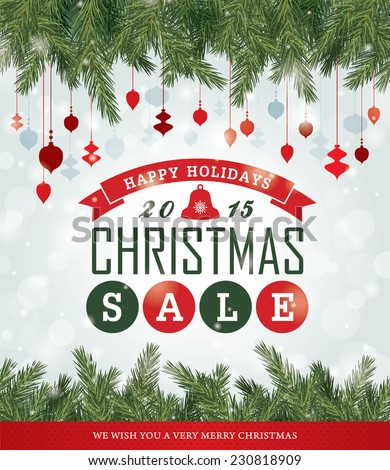 Christmas sale poster - stock vector