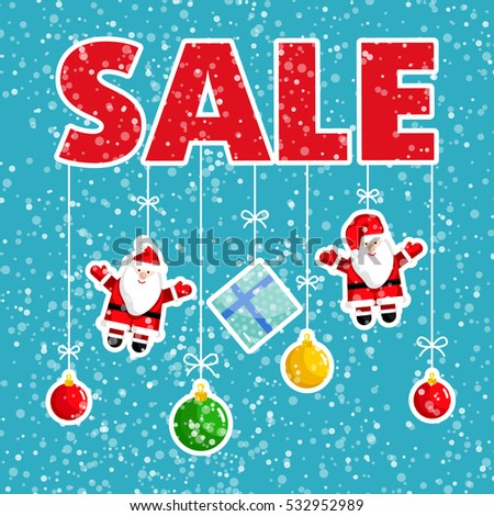 Christmas sale poster. Colorful tree toys, santa claus, gift box hanging on rope in snowfall vector. Merry Christmas and Happy New Year concept for seasonal store sales and discounts promo