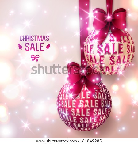 Christmas sale - Purple Christmas baubles on light background. Vector illustration. Christmas balls with bows. Sparkles. Place for your text message. Business New year backdrop. - stock vector