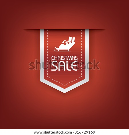 Christmas sale ribbon vector. Holiday discounts banners with santa on sleigh. 3d bookmarks elements. Eps10 vector illustration. - stock vector