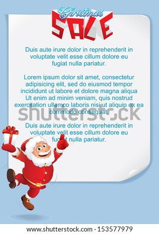 Christmas Sale. Santa Claus and Blank Background. Vector Template Great for: Advertising Poster, Print Design or E-commerce etc. - stock vector