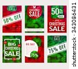 Christmas Sale. Set of banners, flyers or posters. Cards with colorful polygonal backgrounds. Christmas sale and discount templates. Vector collection. - stock vector