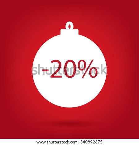 christmas sale sticker tag, 20 percent discount - stock vector