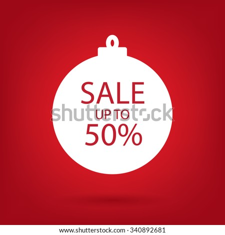 christmas sale sticker tag, up to 50 percent discount - stock vector