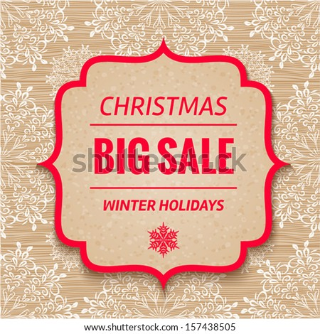 Christmas Sale Tag. Vector christmas background  - stock vector