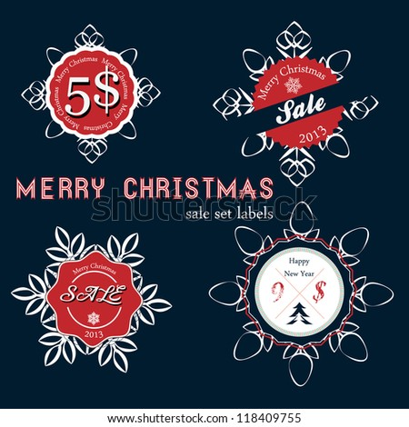 Christmas Sale Tags - for design and scrapbook - in vector - stock vector