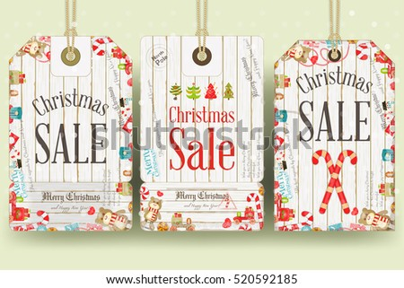 Christmas Sale Tags in Retro Style. White Wooden Background. Vector Illustration.
