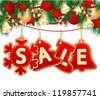 Christmas Sale Tags on christmas signs. Vector illustration - stock