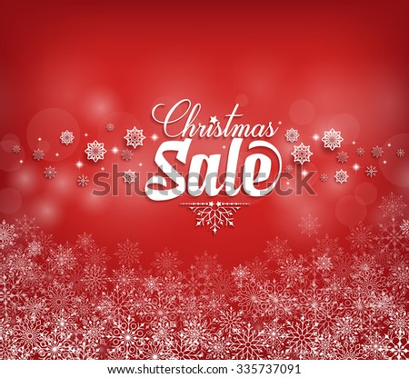 Christmas Sale Text Design with Snow Flakes in Red Background. Vector Illustration  - stock vector