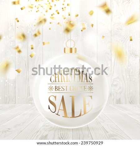 Christmas sale text on the ball with curves of ribbon confetti over wooden background. Vector illustration.