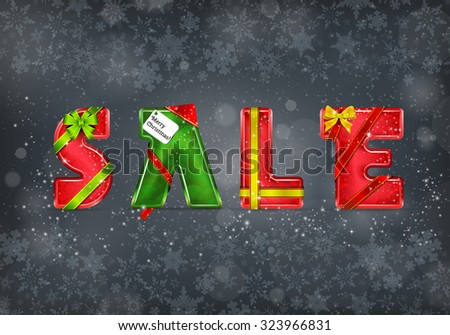 Christmas Sale. Vector 3D Letters on the Grey Background with Snowflakes - stock vector