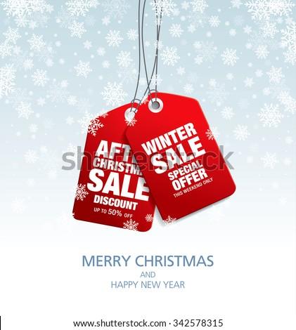 Christmas sale. Vector tags - stock vector
