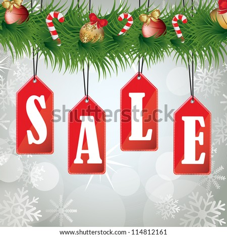 Christmas sales background with a wreath hanging labels - stock vector