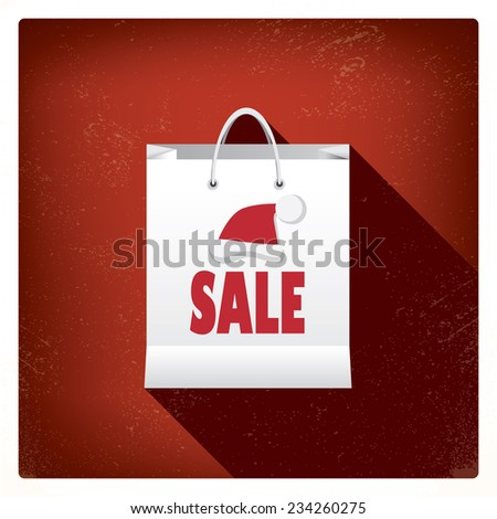 Christmas sales shopping bag concept design for promotion and advertising of discounts. Eps10 vector illustration - stock vector