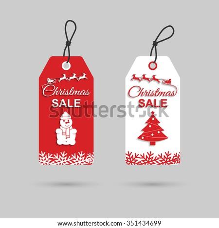 Christmas sales tag. Christmas discounts. Vector. - stock vector