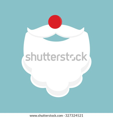 Christmas Santa Claus beard,mustache and red nose vector illustration on blue background. Merry Christmas background - stock vector