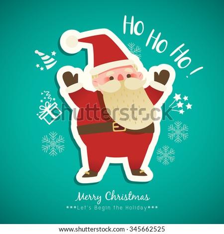 christmas santa claus cartoon on green background vector illustration - stock vector