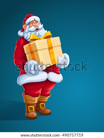 Christmas Santa Claus man with big gift in hands. Merry character the red christmas holiday santa suit holding box golden bow of ribbon. Cartoon vector illustration. Xmas symbol on blue background