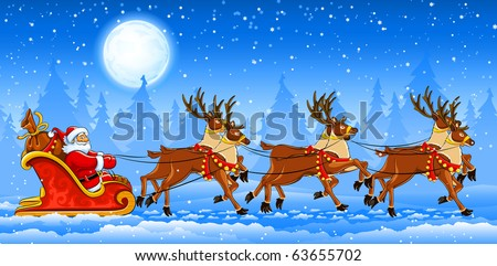 Christmas Santa Claus riding on sleigh with reindeers by snow. Vector illustration - stock vector