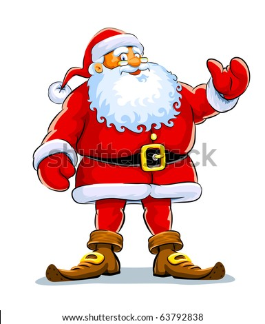 Christmas santa claus stand with lift hand vector illustration isolated on white background - stock vector