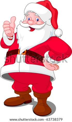 Christmas Santa Claus with thumb up gesture - stock vector