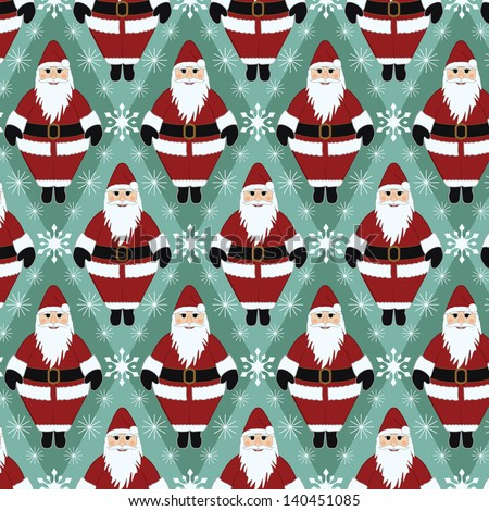Christmas Santa Gift Wrapping Paper - stock vector